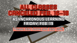 No classes Feb. 16-18