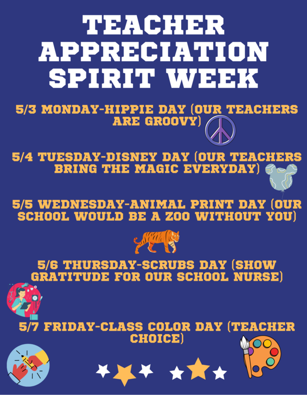 Teacher Appreciation Spirit Week (May 3rd-7th) Featured Photo