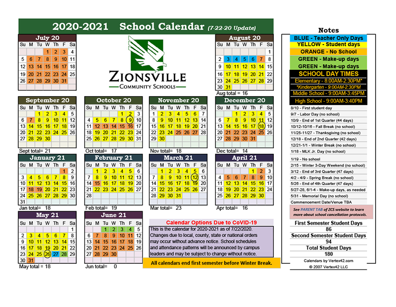 2020-21 School Year Calendar (Updated)