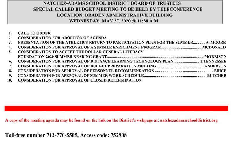 Special Called Board Meeting May 27, 2020