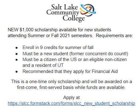 SLCC New Scholarship
