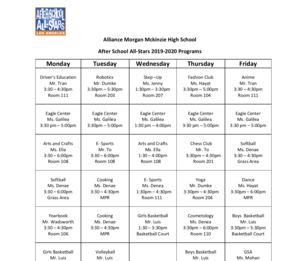 After School All-Stars 2019-2020 Programs