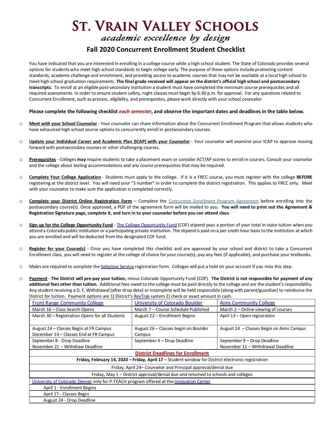 checklist for registering for college classes
