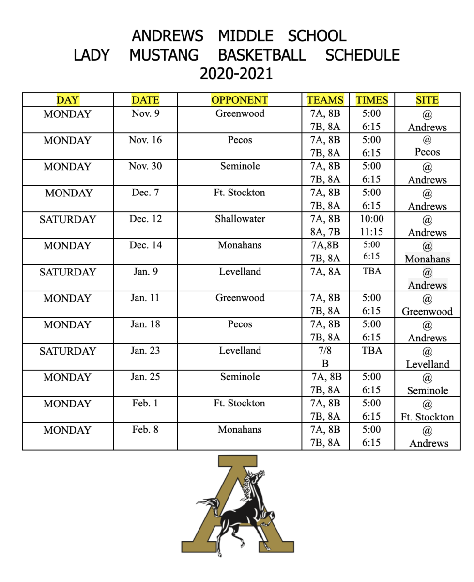 Girls Basketball Schedule - 2020