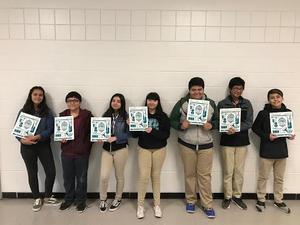 Decker Middle School students Hannah Cano, Matias Ramirez, Viridiana Corona, Alex Ogburn, Jonathan Gonzalez, Daniel Covarrubius, Derek Munoz