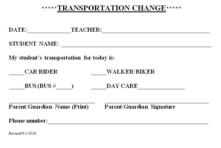 Transportation Change Procedures – Procedures – Creekview