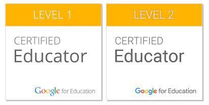 Google Educator Badges, level 1 and 2