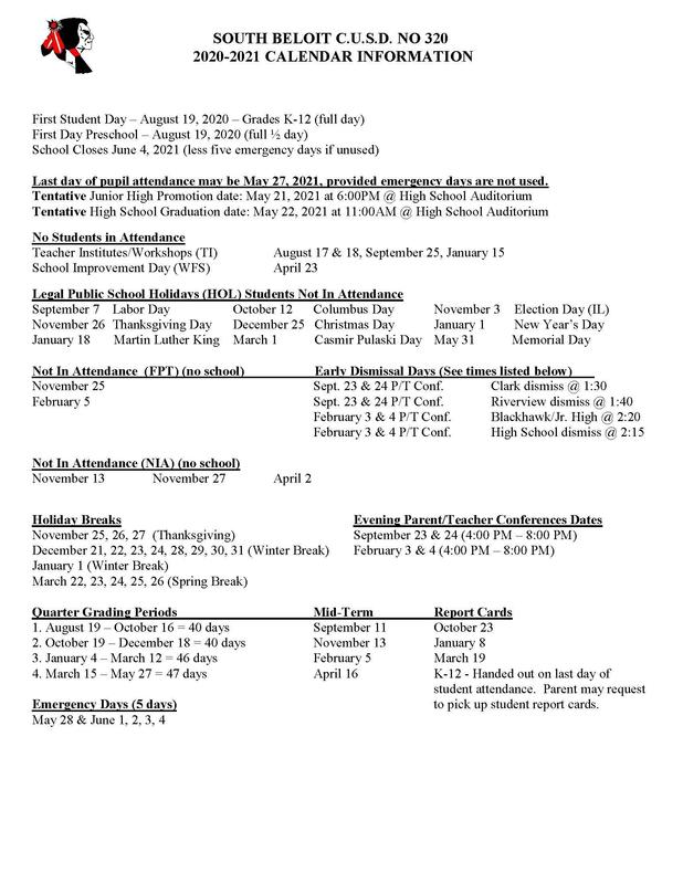 20-21 Calendar Dates