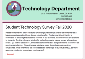 Technology Student Survey Fall 2020