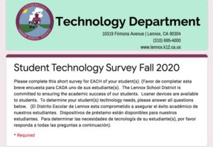 Technology Student Survey Fall 2020