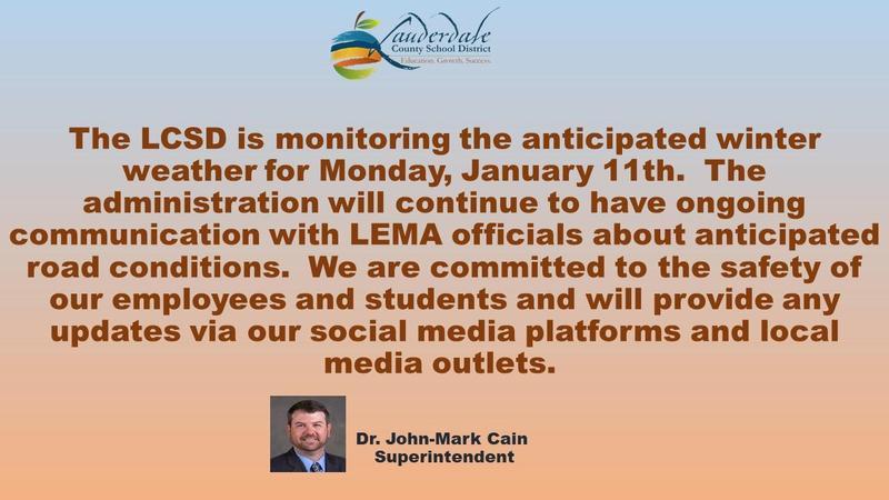 LCSD Weather Advisory Graphic