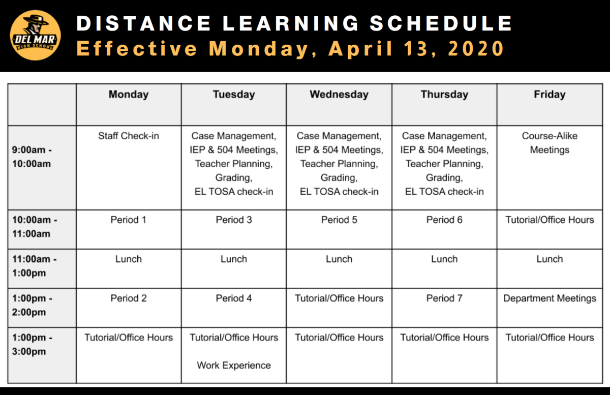 image of distance learning schedule for remainder of 2019/20 school year
