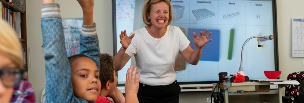 Middle School math teacher Kelly McHugh engages her class