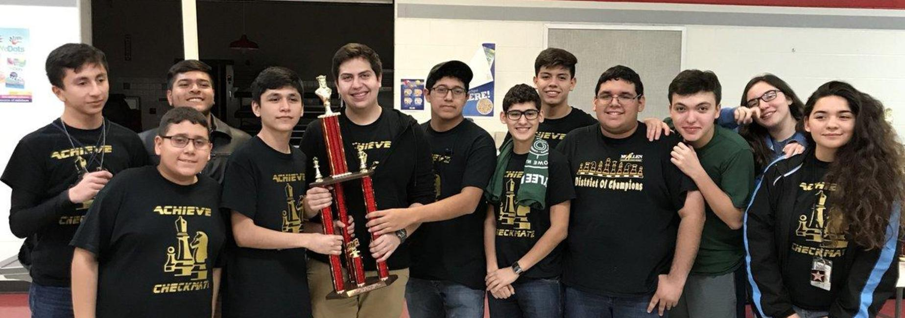 AECHS Chess team with Championship trophy