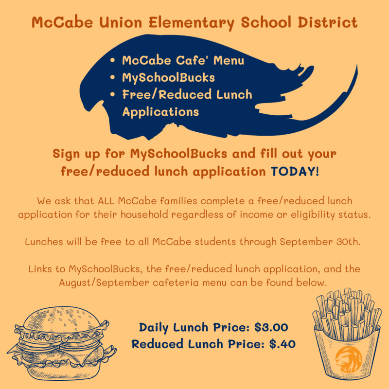 McCabe Cafe' Menu, MySchoolBucks, and Free/Reduced Lunch Applications Thumbnail Image