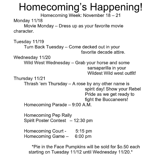 Homecoming Informational Flyer