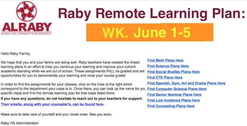 Raby Remote Learning Plan: Wk. June1-5 Featured Photo