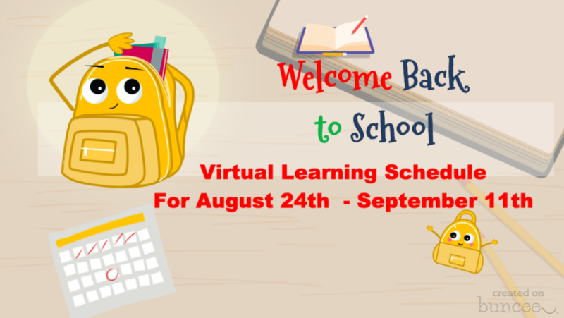 back to school supplies - virtual learning notice.