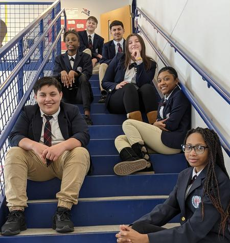 Picture of students on the stairway.