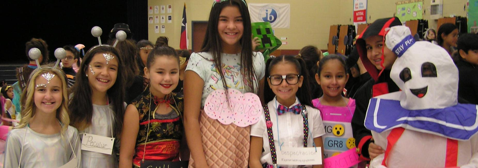 Fifth grade students dressed for the vocabulary parade.