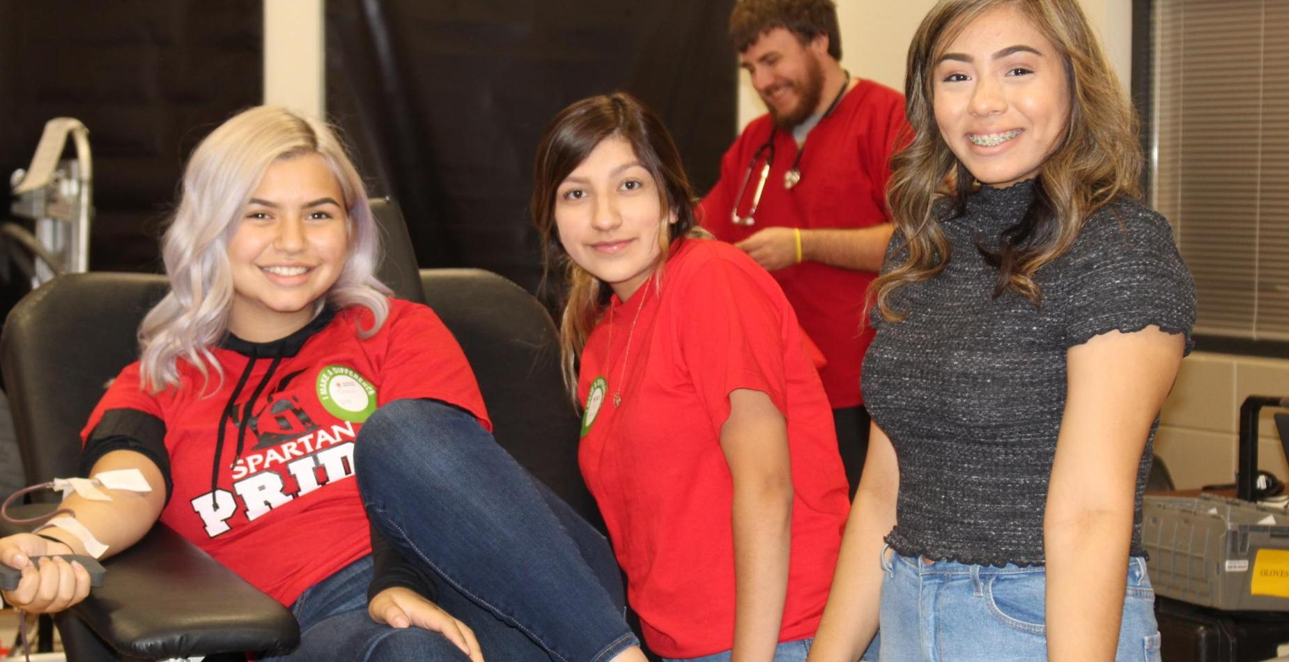 Students at Blood Drive