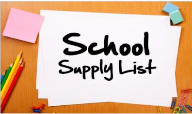 2021-2022 SCHOOL SUPPLY LIST-- LISTA DE UTILES Featured Photo