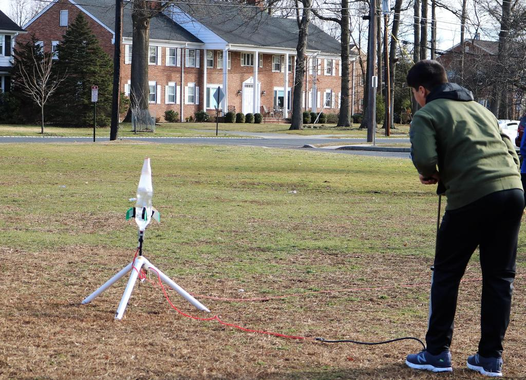 Photo of student getting ready to launch rocket during Science Olympiad at Roosevelt Intermediate School.