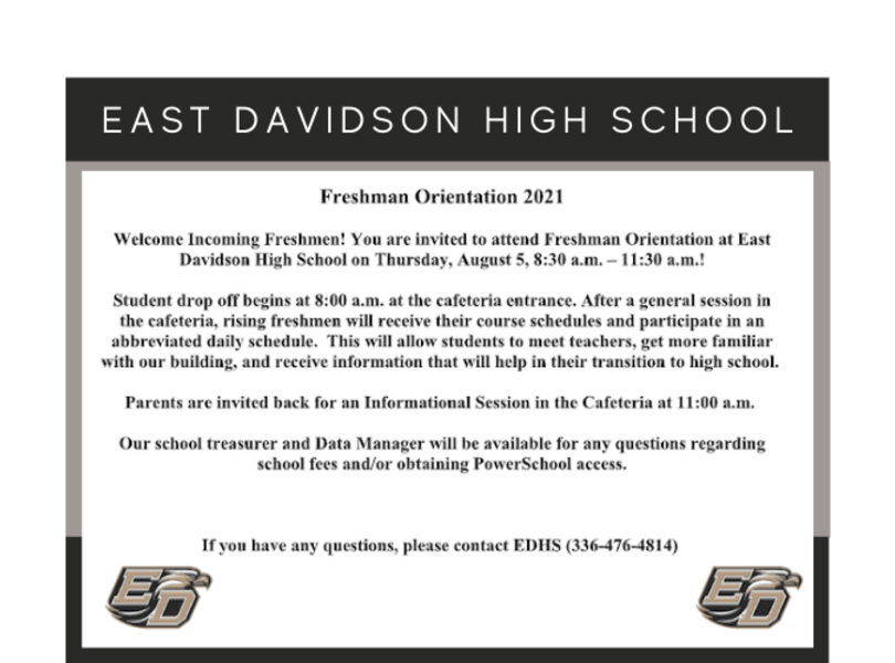 Freshman Orientation 2021 -  Thursday, August 5 from 8:30am-11:30am