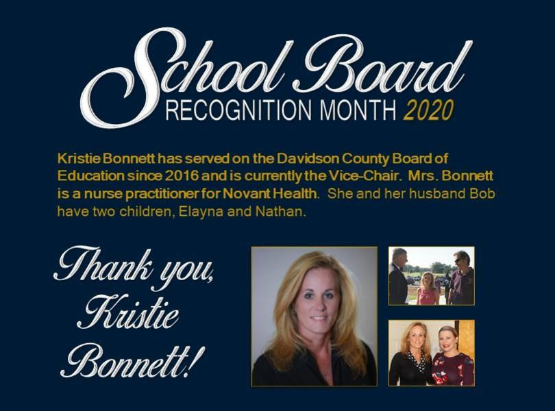 Kristie Bonnett has served on the Davidson County Board of Education since 2016 and is currently the Vice-Chair.  Mrs. Bonnett is a nurse practitioner for Novant Health.  She and her husband Bob have two children, Elayna and Nathan.