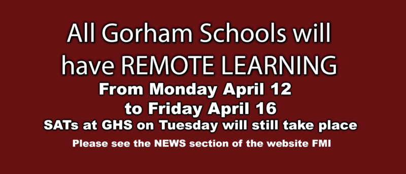 All Gorham Schools will have REMOTE LEARNING  from Monday,  April 12 to Friday, April 16 Thumbnail Image