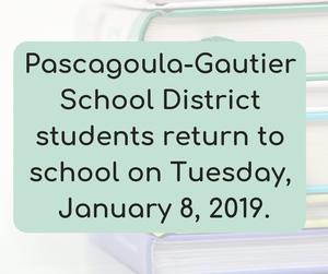 Students Return Tuesday, January 8, 2019