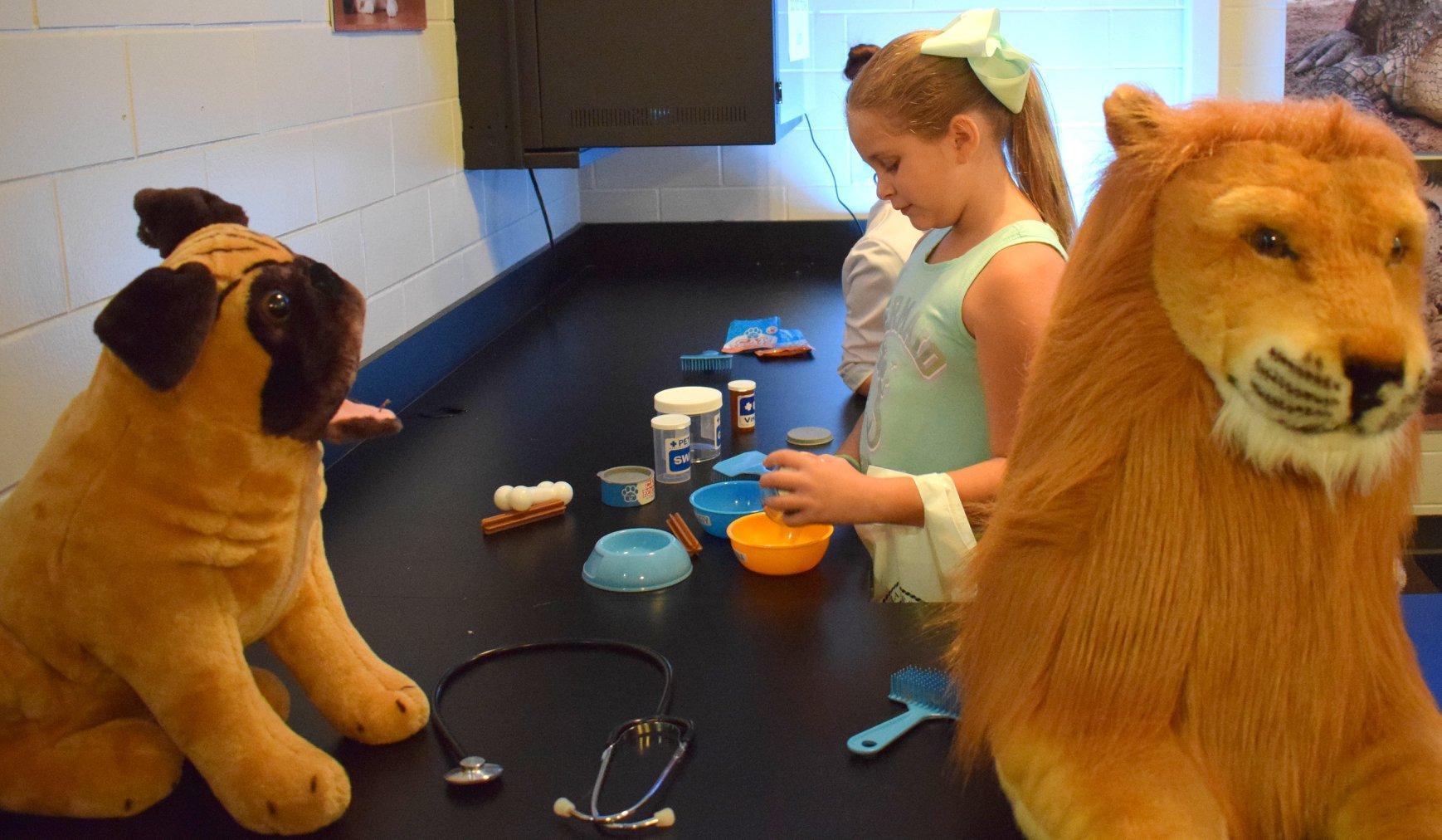 girl playing a vet