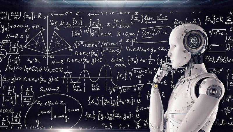 Robot looking at a chalkboard with mathematical equations symbolizing artificial intelligence