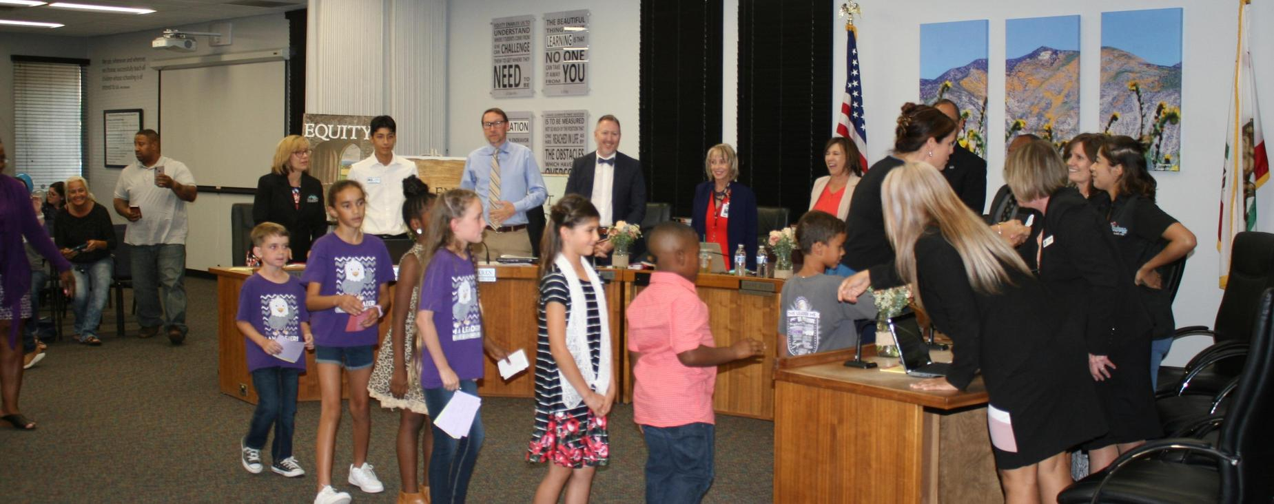 Estudillo student speakers are thanked by the Board of Trustees for a very informative presentation on their Leader in Me school experience.