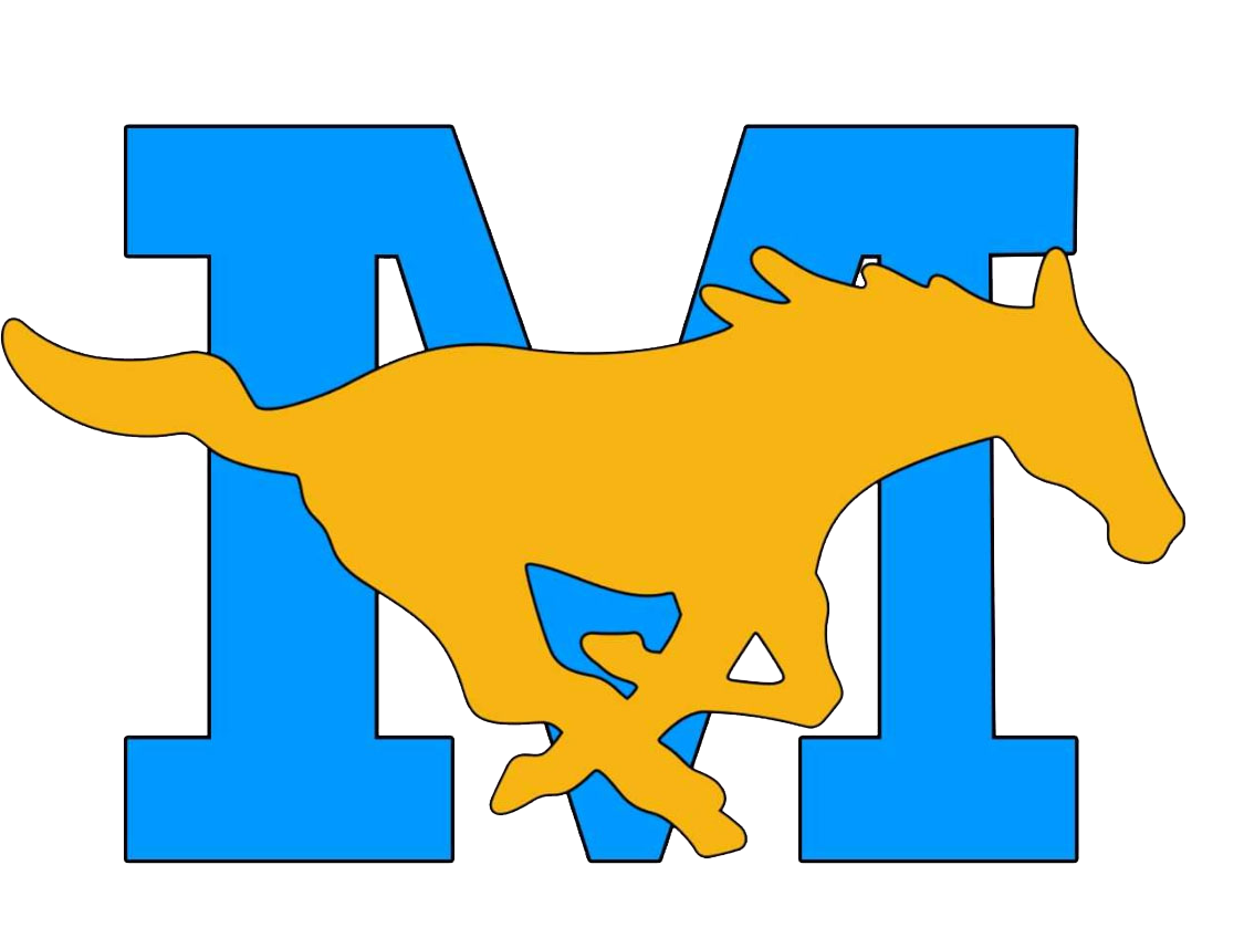 mustang logo with giant letter M