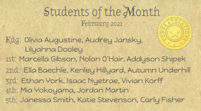 February Students of the Month Featured Photo