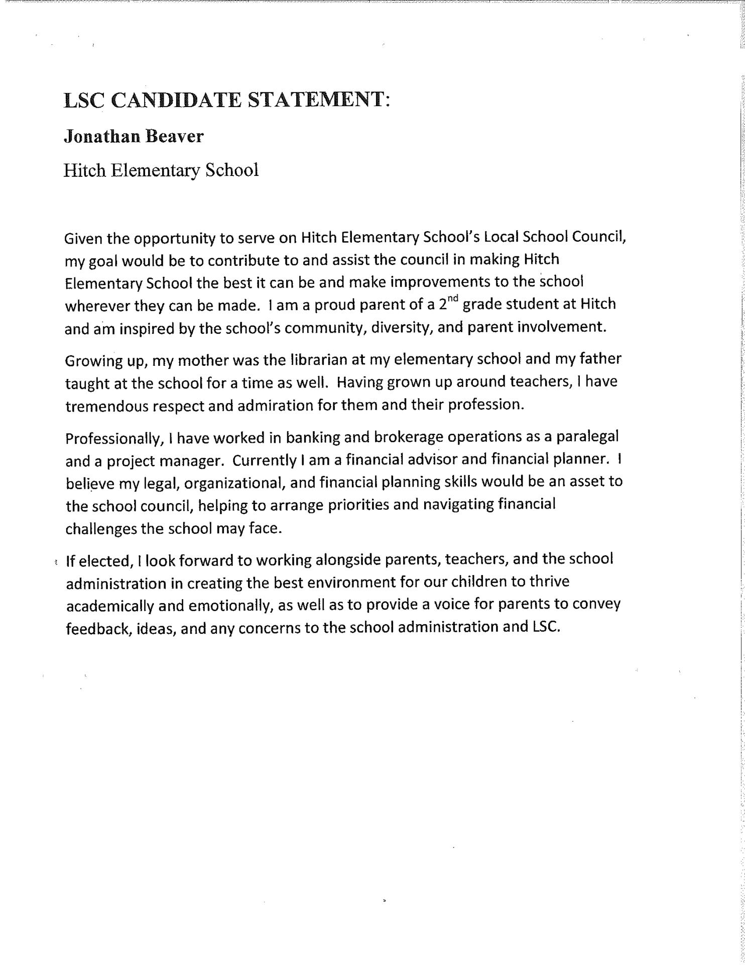 Beaver LSC Statement