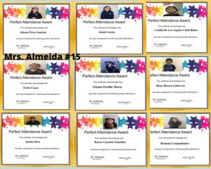 Mrs. Almeida Perfect Attendance certificate collage