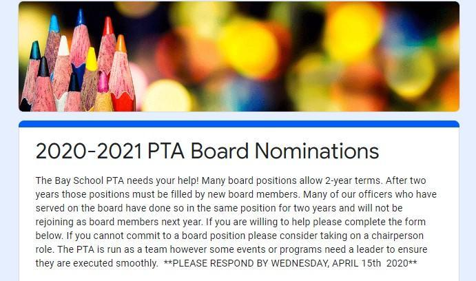 PTA NOMINATIONS FOR 2020/2021 SCHOOL YEAR Featured Photo