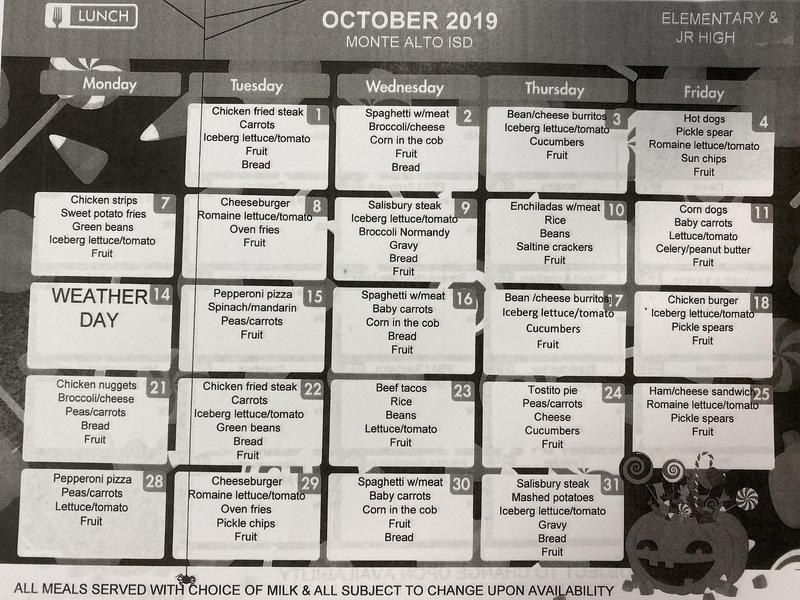 October breakfast and lunch menu Featured Photo