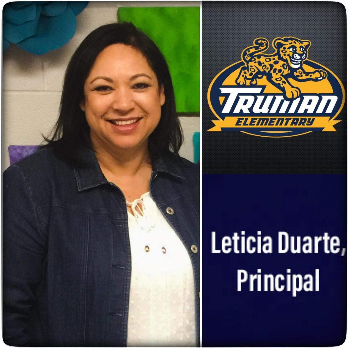 Image of Leticia Duarte, principal and the Truman logo