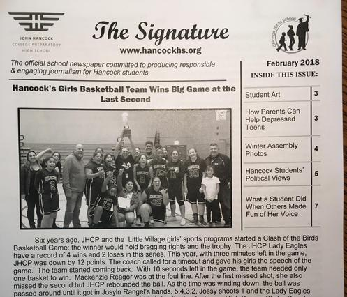The student run newspaper, the Signature, is mentored by Mr. Salazar