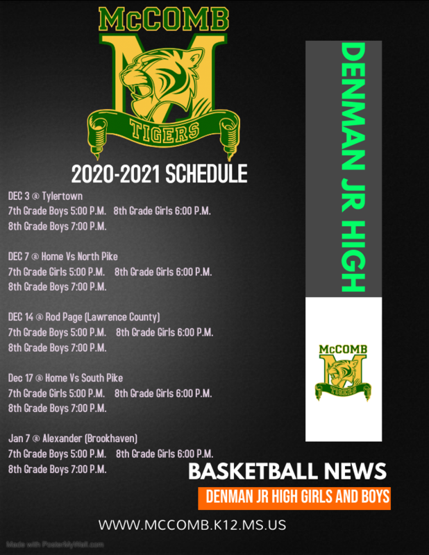 Denman Junior  High School 7th and 8th Grade Girls and Boys Basketball  Schedule 2020-2021