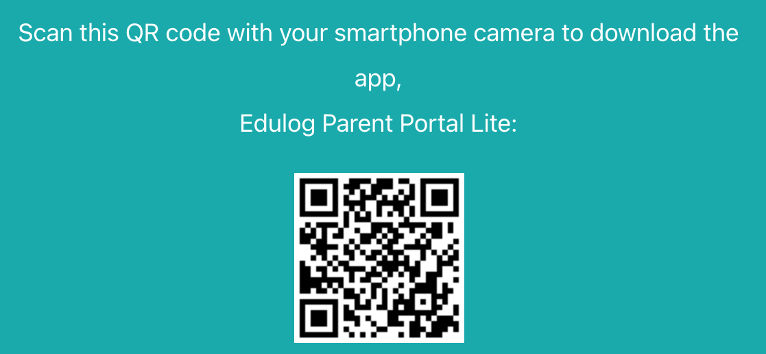 the image is a screenshot of a QR code to download the Eudlog Parent Portal Lite app