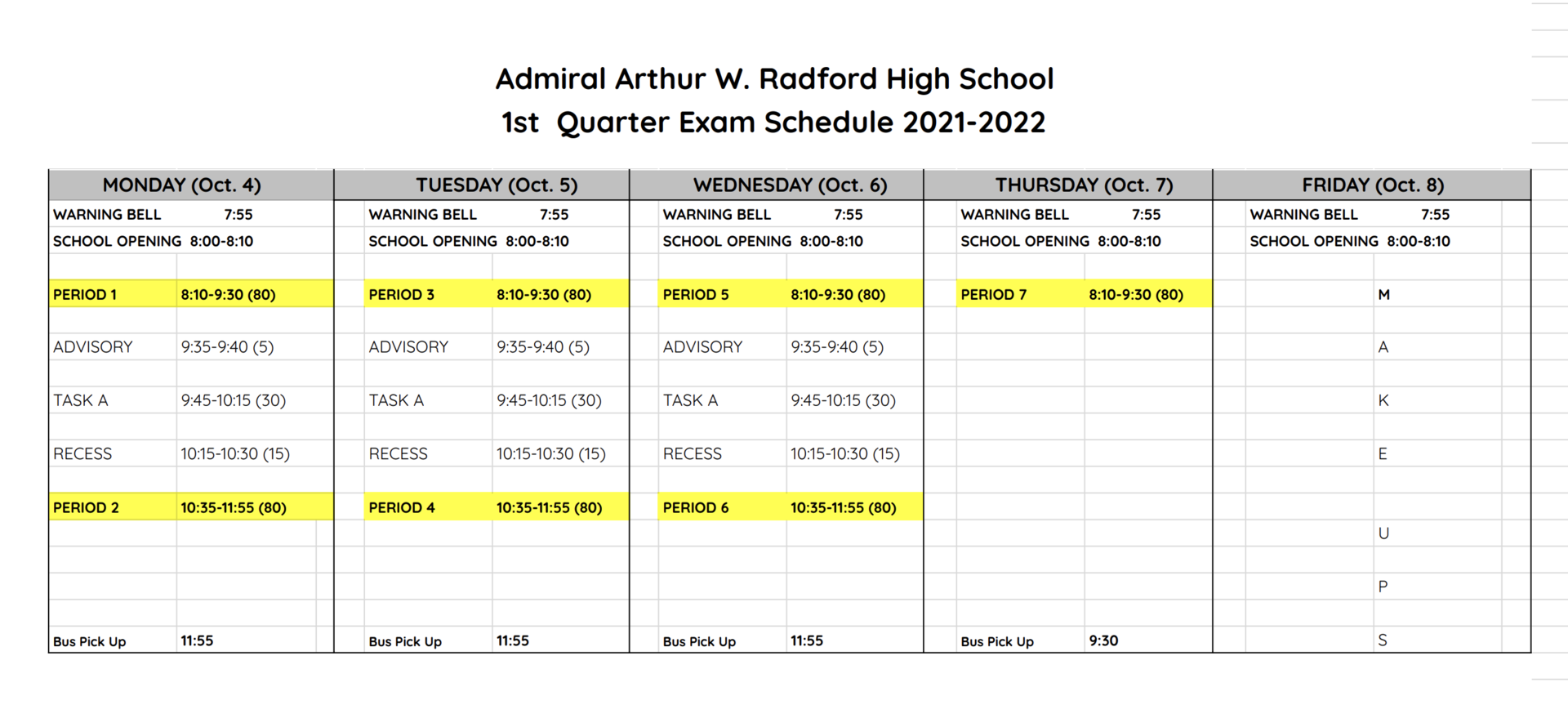 exam schedule picture