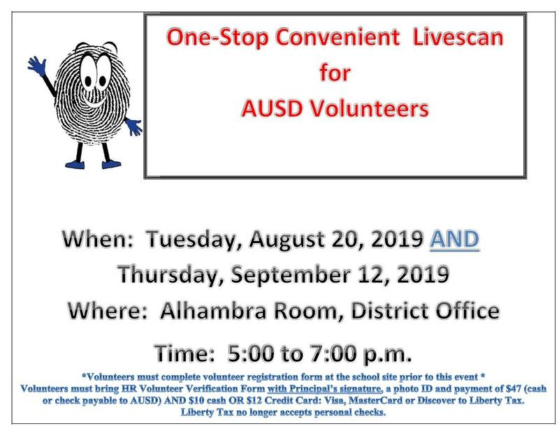 One-Stop Livescan for AUSD Volunteers Featured Photo