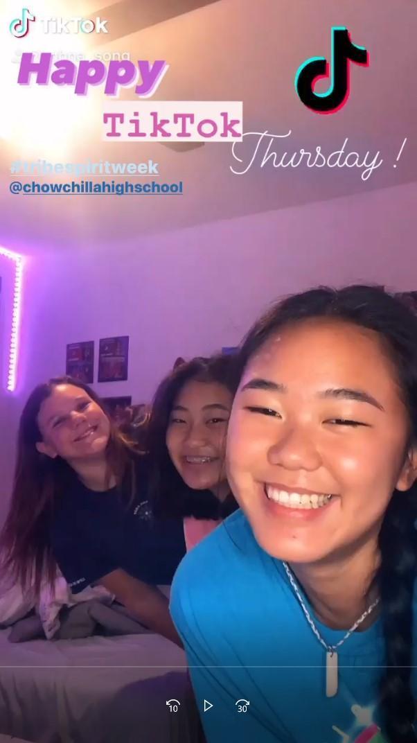 students having fun on Tik Tok thursday