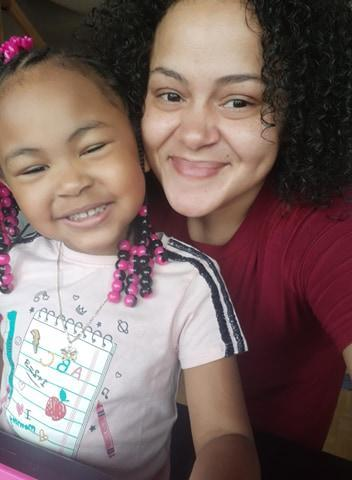Nakia Marcelino and her daughter