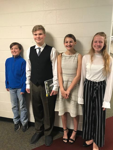 Middle School students earned top ratings at the solo and ensemble contest.
