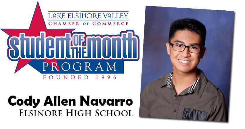 Cody Allen Navarro, Elsinore HS, Student of the Month, October, 2020.